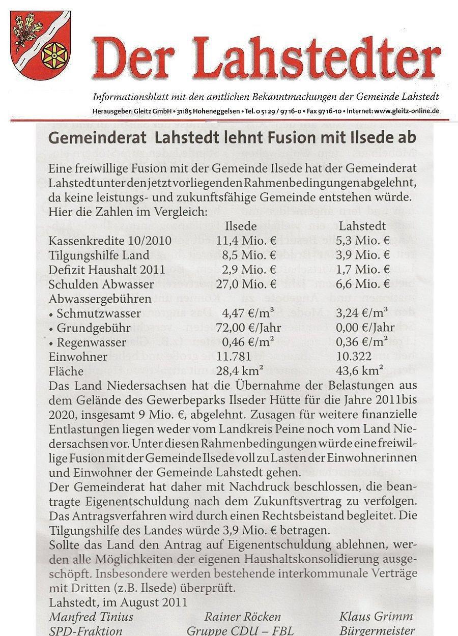 www.gelbesblatt.info Lahstedter Rat lehnt Fusionspläne ab