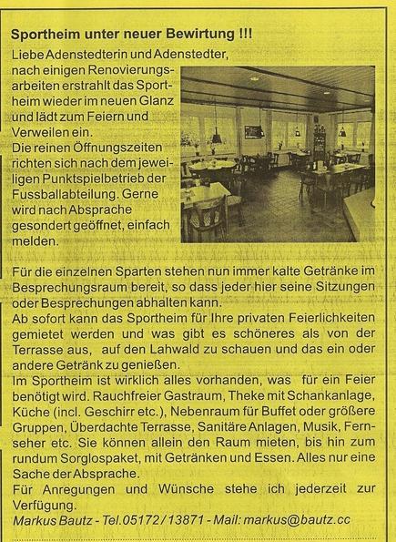 www.gelbesblatt.info Sportheim Adenstedt unter neuer Bewirtung
